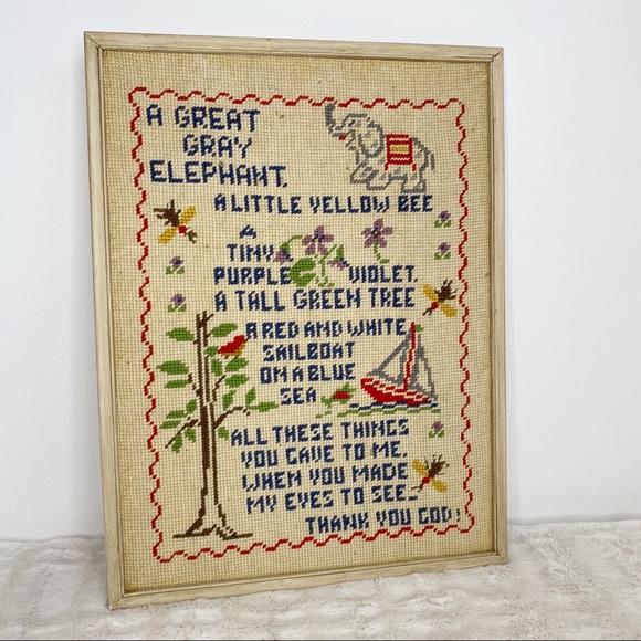 Vintage Other - vintage framed cross-stitch wall art nursery decor